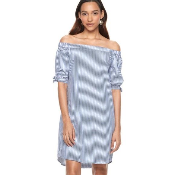 2b051066b2ea Apt. 9 Dresses   Skirts - Apt. 9 Blue White Striped Off Shoulder Shift